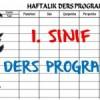 1. Sınıf Haftalık Ders Programı 2018-2019