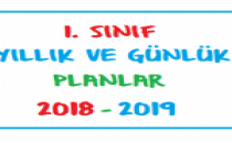 1. Sınıf Günlük ve Yıllık Planlar 2018-2019