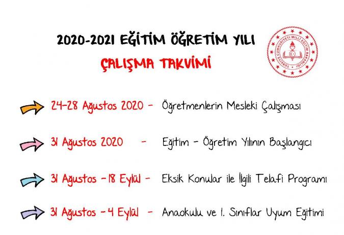 2020-2021 Eğitim-Öğretim Yılı Çalışma Takvimi