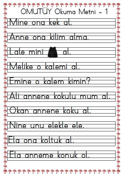 1 Sinif Omutuy Okuma Metni 1 Seyit Ahmet Uzun Egitime Yeni