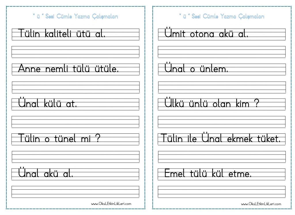U Sesi Cumle Yazma Calismalari Seyit Ahmet Uzun Egitime
