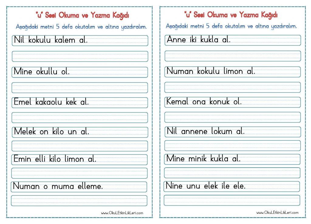 U Sesi Okuma Ve Yazma Kagidi Seyit Ahmet Uzun Egitime Yeni