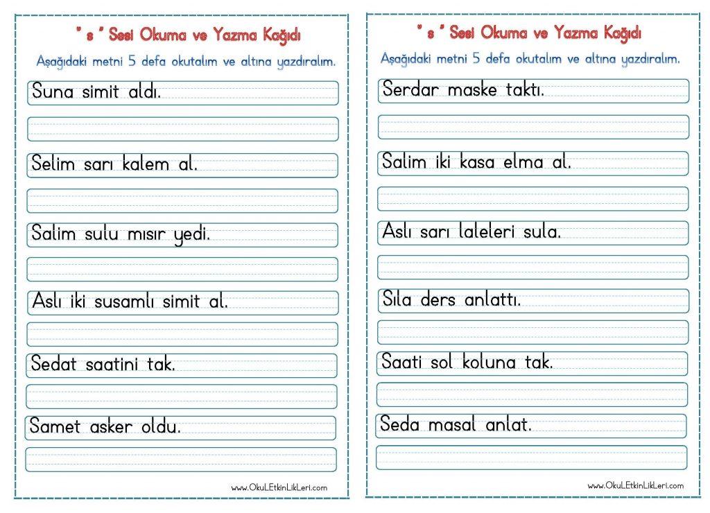 S Sesi Okuma Ve Yazma Kagidi Seyit Ahmet Uzun Egitime Yeni