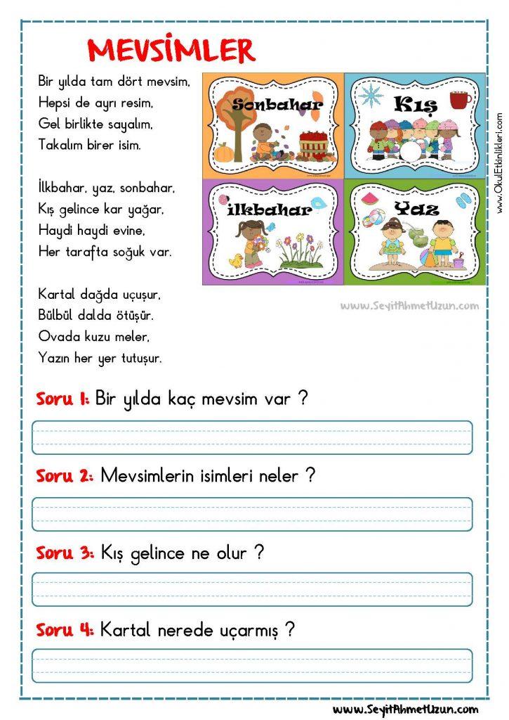 Okuma Anlama Siir Mevsimler Okul Etkinlikleri Egitime Yeni